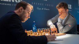 Magnus Carlsen møtte Georg Meier for 6. gang i 6. runde av Grenke Chess Classic. Foto: Eric van Reem.