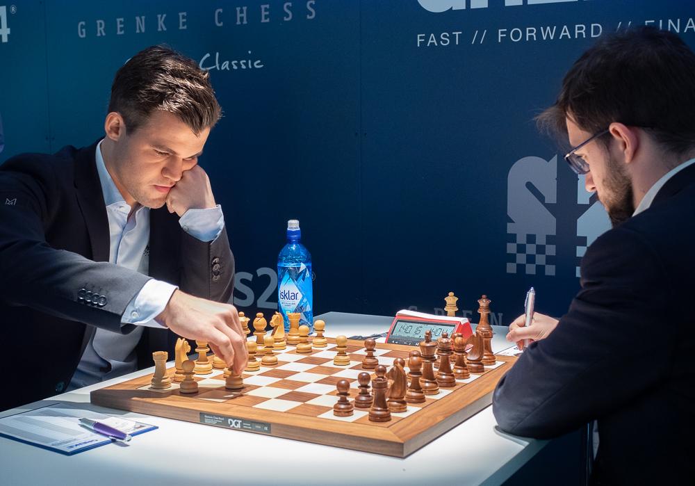 Magnus Carlsen møtte Maxime Vachier-Lagrave for 23. gang i klassisk sjakk. Foto: Eric van Reem