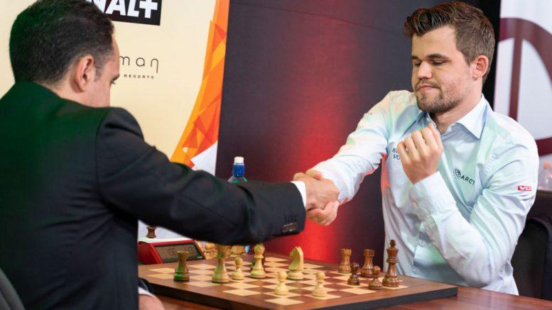 5959505e Magnus Carlsen tok en overbevisende seier over Bassem Amin i 7. runde i  Abidjan. Foto: Lennart Ootes/Grand Chess Tour