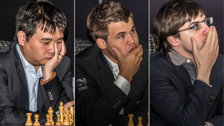 Chao Li, Magnus Carlsen and Maxime Vachier-Lagrave. Photo: Rolf Haug