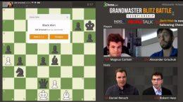 Magnus Carlsen og Alexander Grischuk i duellen tirsdag. Foto: Chess.com