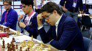 Det norske laget uten Magnus Carlsen fra start i dag. Foto: Paul Truong