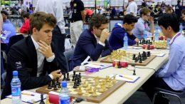 Norge i aksjon mot Australia i dag. Foto: Paul Truong/Baku Chess Olympiad