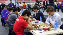 Norge i oppgjøret mot Filipponene. Foto: Paul Truong/Baku Chess Olympiad