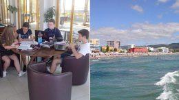 NTG-elevene må gjøre skolearbeid sjakktur til Sunny Beach. Foto: Bjørn Revil/sunnybeach.com