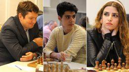 Alexander Moiseenko, Aryan Tari og Dorsa Derakshani i Oslo Chess Festival. Foto: Olga Dolzhikova/dragulf.no