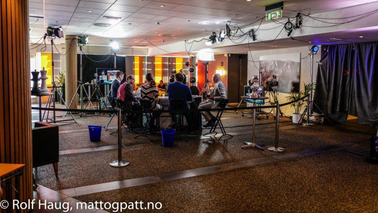TV 2 med sitt sjakkstudio i Stavanger. Foto: Rolf Haug/mattogpatt.no