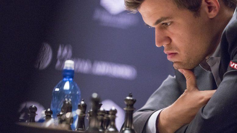 Magnus Carlsen in the second game in New York. Photo: Maria Emelianova/World Chess