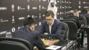 Hammer holdt unna for Ding Liren i tredje runde av Sharjah Grand Prix. Foto: Maria Emelianova