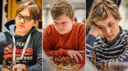 Johannes Haug (gruppe B), Andreas G. Tryggestad (Gruppe C) og Jens E. Ingebretsen i gruppe D spiller for gull i Nordisk mesterskap. Alle foto: Kristoffer Gressli/USF