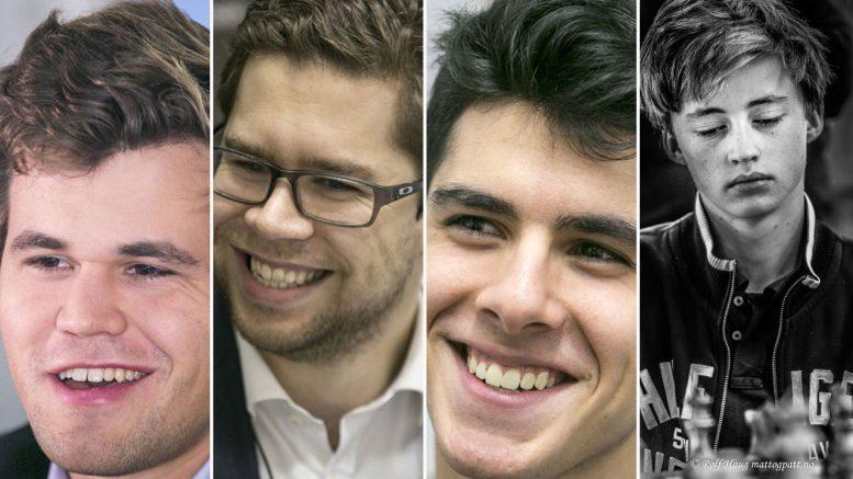 Magnus Carlsen, Jon Ludvig Hammer, Aryan Tari og Daniel Nordquelle gikk videre i PRO Chess League. Foto: Maria Emelianova/Rolf Haug/mattogpatt.no