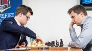 VM-MOTSTANDERE: Magnus Carlsen i møtet med Sergey Karjakin i 2. runde av Sinquefield Cup 2017. Foto: Lennart Ootes/Grand Chess Tour