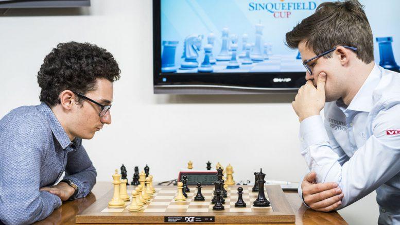 RIVALER: Magnus Carlsen og Fabiano Caruana med remis i åpningsrunden i Sinquefield Cup 2017. Foto: Lennart Ootes/Grand Chess Tour