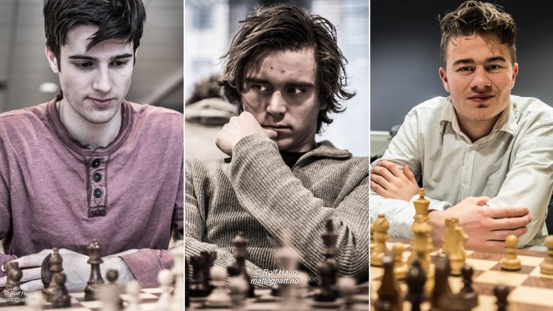 NYE TITLER: Johan Salomon, Benjamin Arvola Notkevich og Sebastian Mihajlov er utnevnt til GM og IM-er. Foto: Rolf Haug/mattogpatt.no