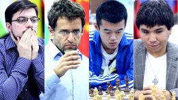 Maxime Vachier-Lagrave, Levon Aronian, Ding Liren og Wesley So er klare for semifinalen i World Cup. Foto: Anastasiya Karlovich/FIDE