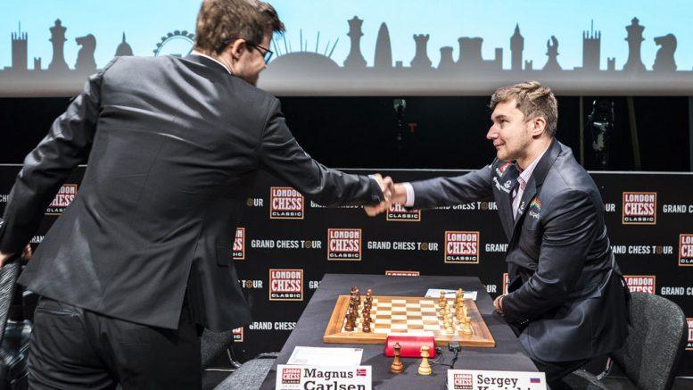 REMIS: Det ble remis for Magnus Carlsen i sitt 37. møte med Sergey Karjakin i London Chess Classic. Foto: Lennart Ootes/Grand Chess Tour