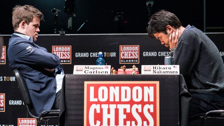 TAP: Magnus Carlsen med sitt andre tap for Hikaru Nakamura i 6. runde i London Chess Classic. Foto: Lennart Ootes/Grand Chess Tour