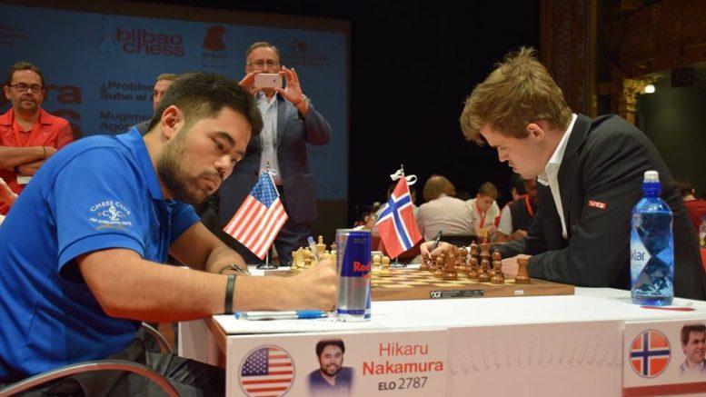 Hikaru Nakamura og Magnus Carlsen møtes i finale igjen. Her fra møtet i Bilbao i 2016. Foto: Yerazik Khachatourian
