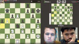Magnus Carlsen og Hikaru Nakamura barket sammen i Speed Chess-finalen på Chess.com. Foto: Skjermdump Chess.com/Twitch