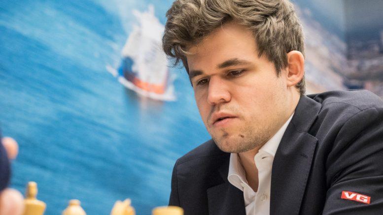 LEDER: Magnus Carlsen i tredelt ledelse i Wijk aan Zee. Foto: Maria Emelianova