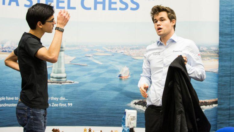 Anish Giri and Magnus Carlsen. Photo: Maria Emelianova