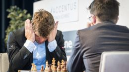 Magnus Carlsens 21. møte med Maxime Vachier-Lagrave i Biel. Foto: Lennart Ootes/Biel International Chess Festival