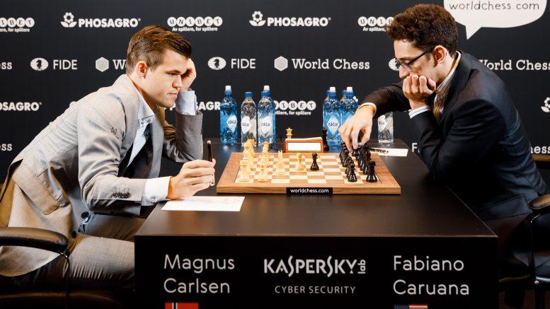 Magnus Carlsen var i alvorlig trøbbel i det sjette partiet mot Fabiano Caruana. Foto: World Chess